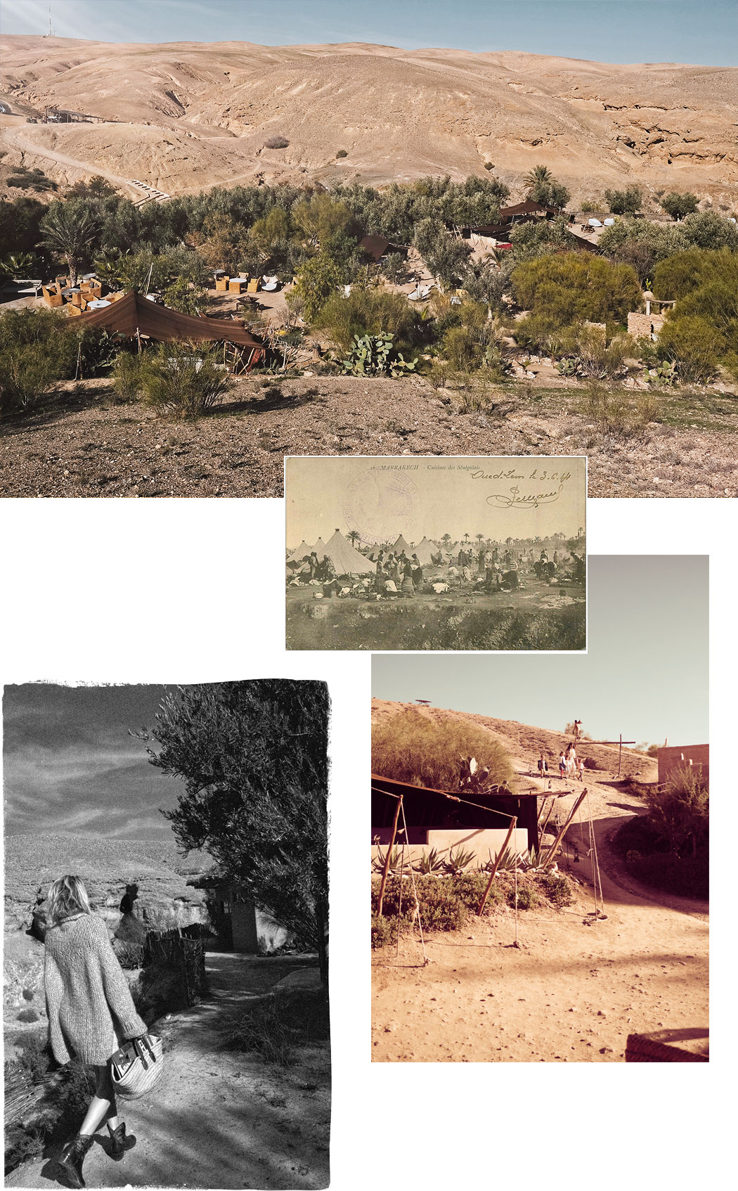 Historical images of Marrakesh desert camp tents holiday - La Pause, Morocco